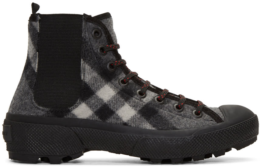 Burberry Grey Check Oven Boots