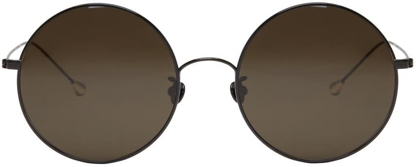 Ann Demeulemeester Black Large Round Sunglasses