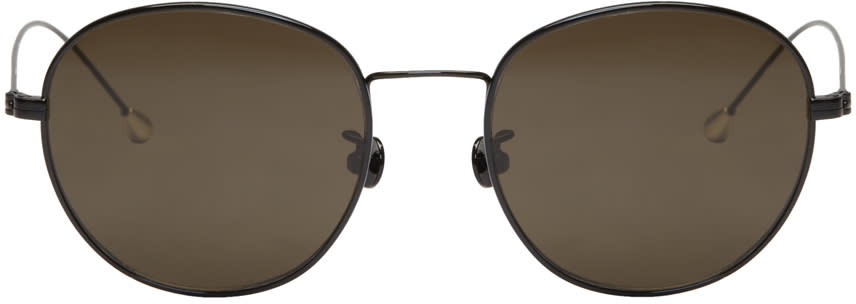Ann Demeulemeester Black Small Round Sunglasses
