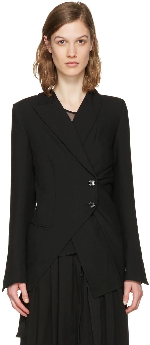 Ann Demeulemeester Black Asymmetric Wool Blazer
