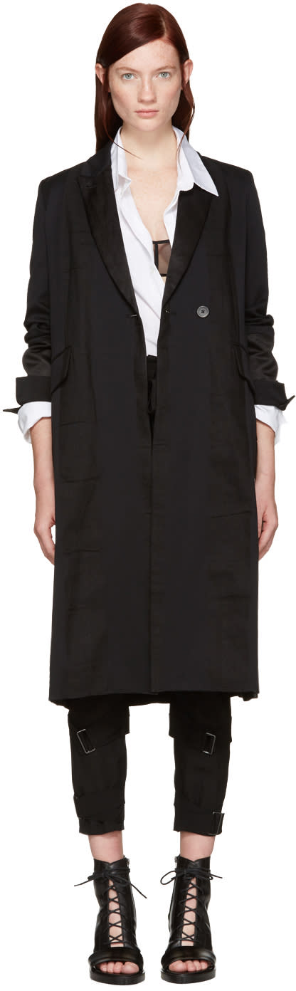 Ann Demeulemeester Black Stripe Coat
