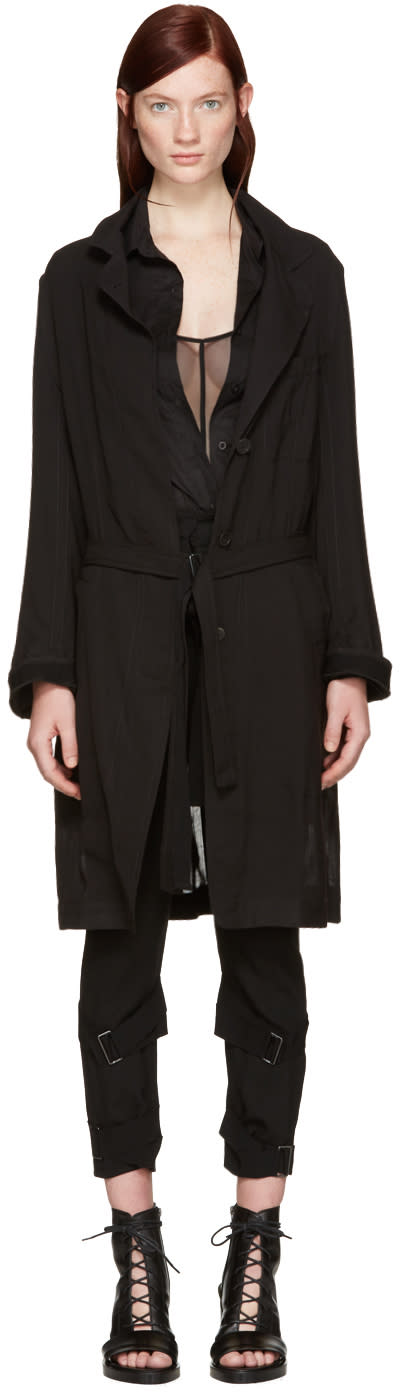 Ann Demeulemeester Black Sheer Coat