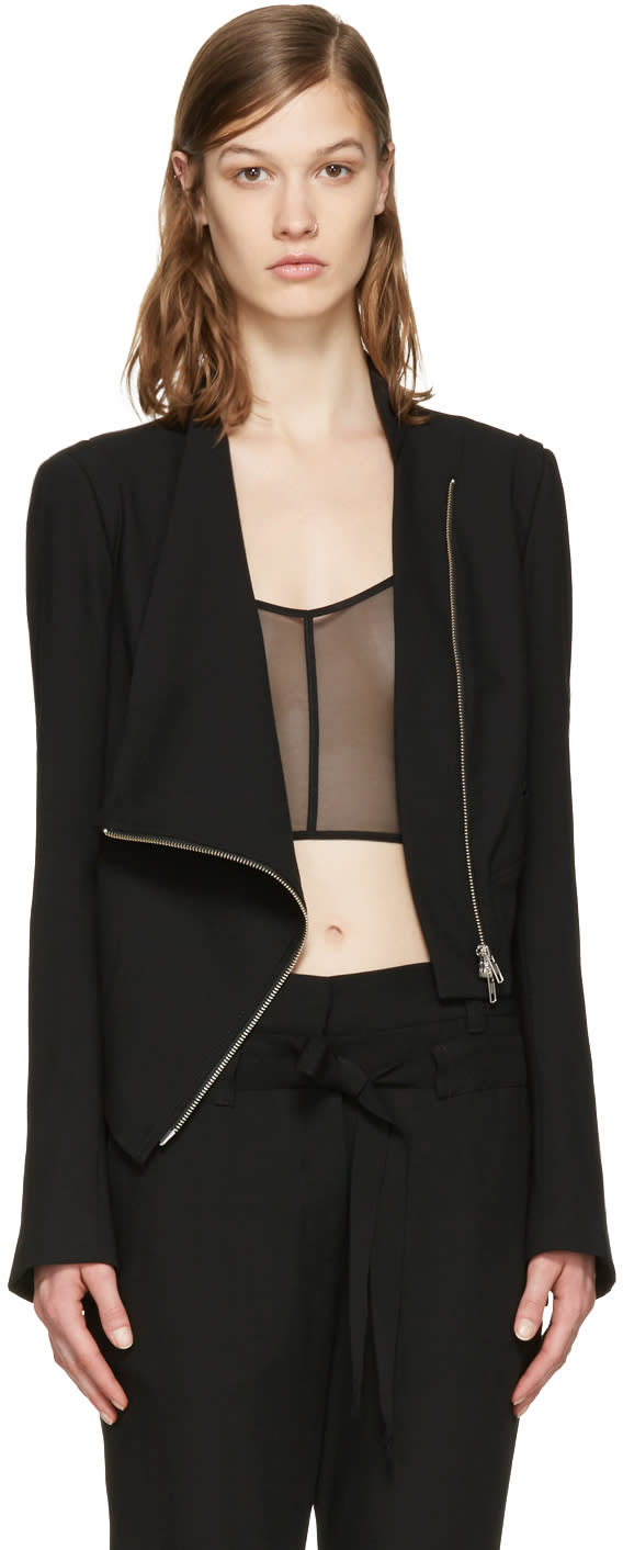 Ann Demeulemeester Black Wool Zip Jacket