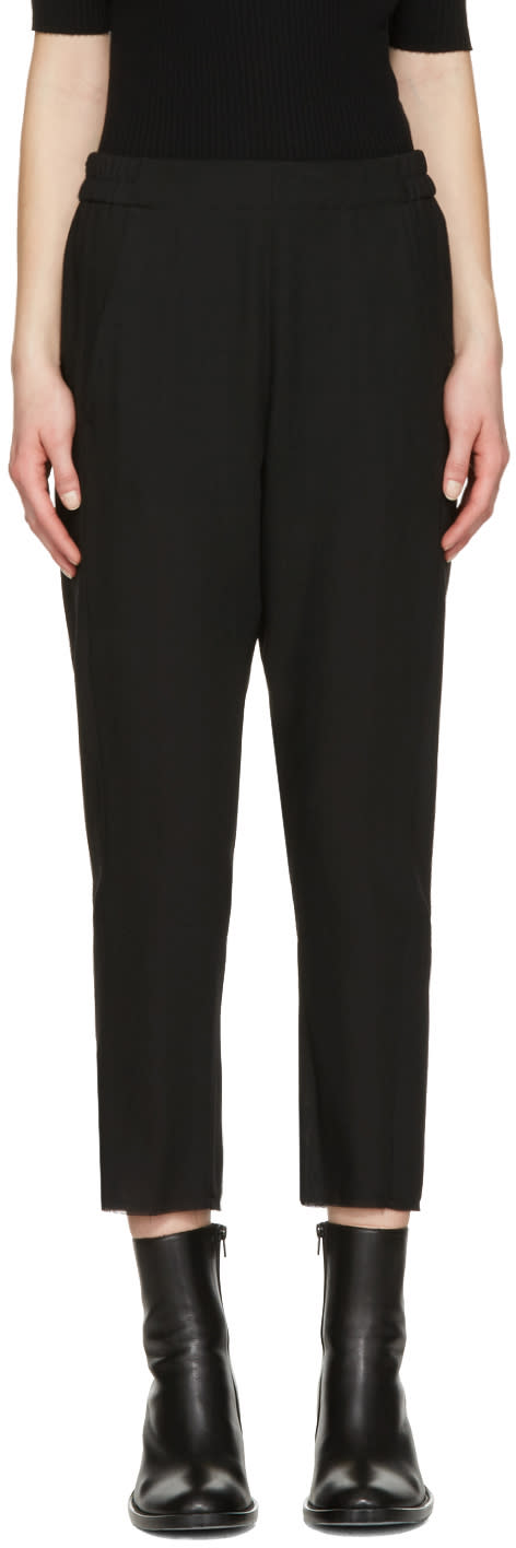 Ann Demeulemeester Black Wool Crop Trousers