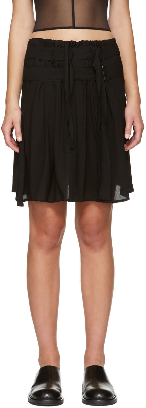 Ann Demeulemeester Black Pleat Layer Miniskirt