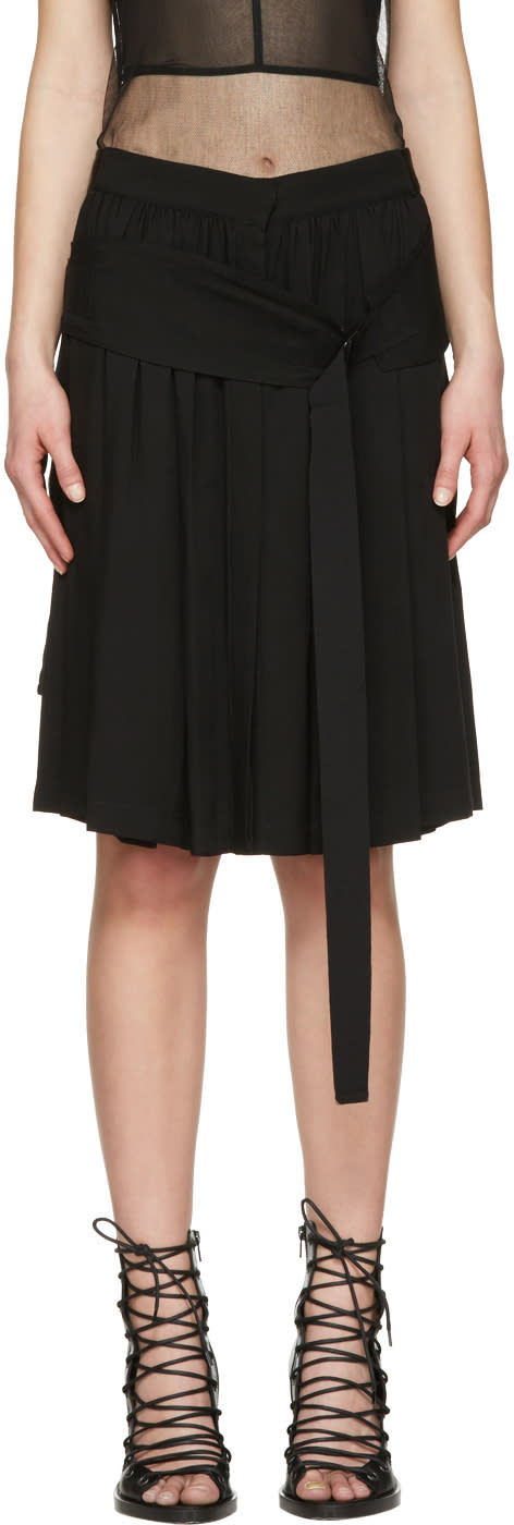 Ann Demeulemeester Black Belted Pleated Skirt