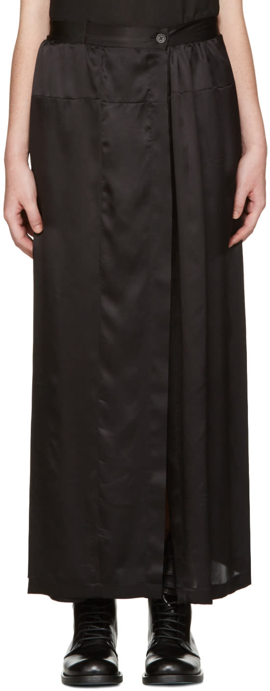 Ann Demeulemeester Black Long Button Skirt