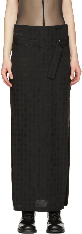 Ann Demeulemeester Black Belted Jacquard Skirt