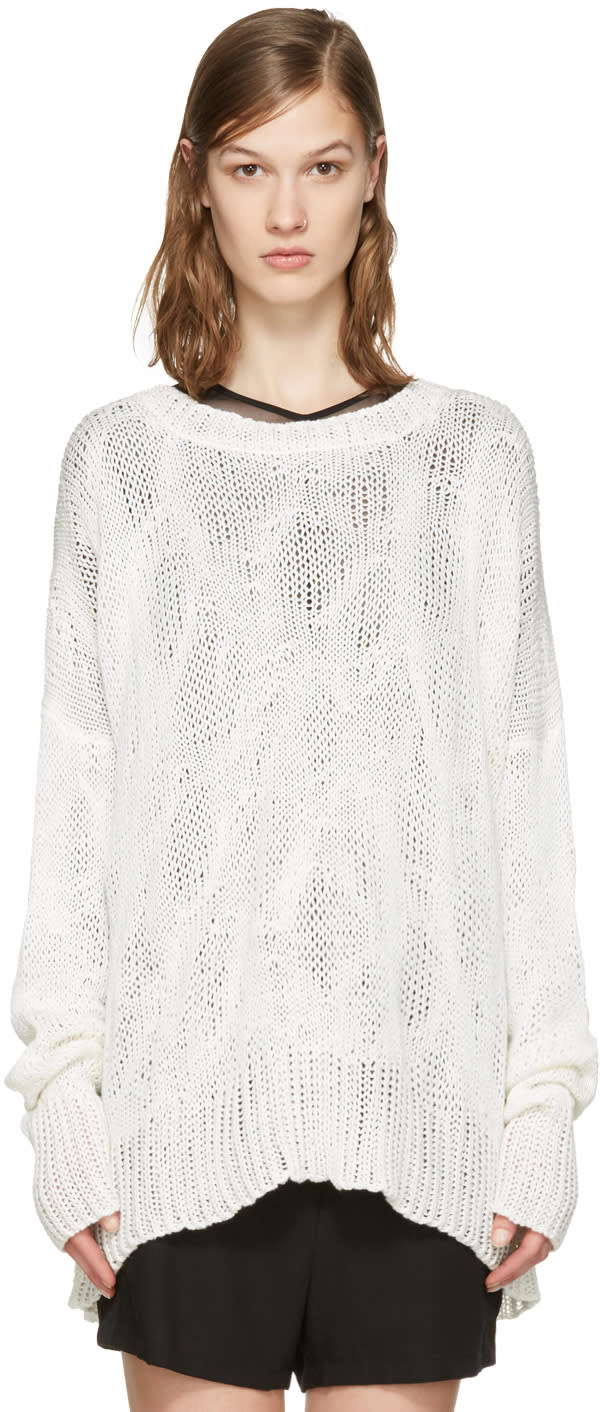 Ann Demeulemeester Off-white Heavy Knit Sweater