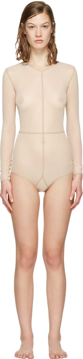 Ann Demeulemeester Beige La Fille Do Tulle Bodysuit