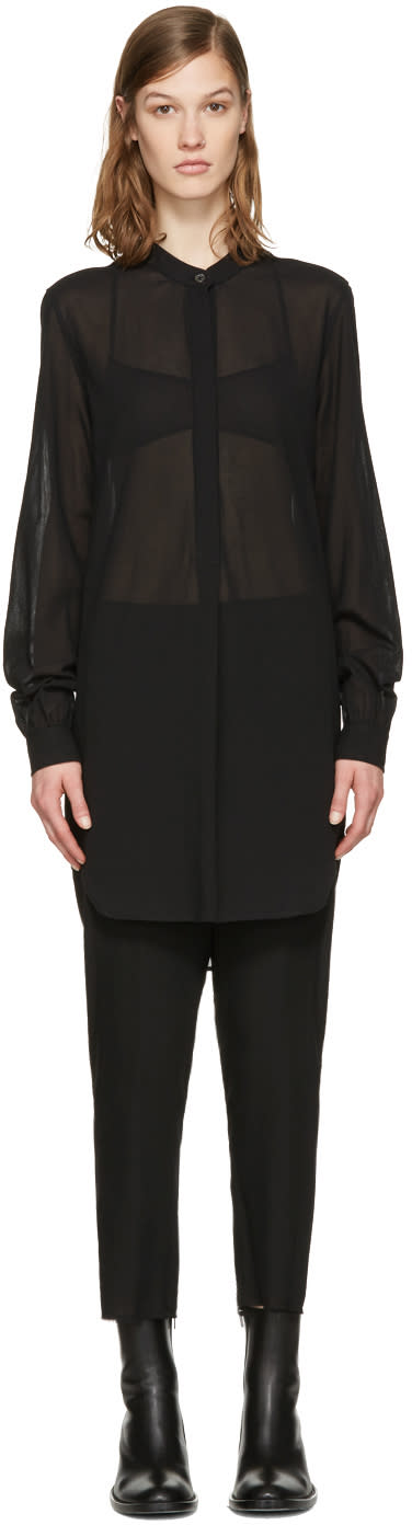 Ann Demeulemeester Black Band Collar Shirt