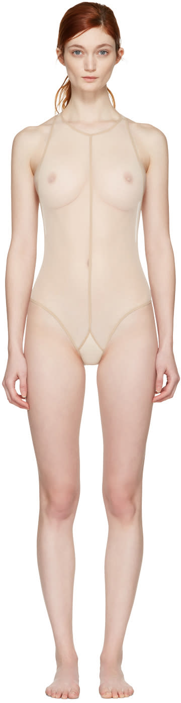Ann Demeulemeester Beige La Fille Do Edition Soft Tulle  Bodysuit