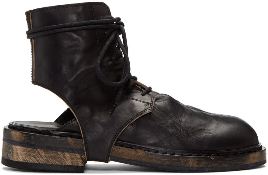 Ann Demeulemeester Black Cut-out Boots