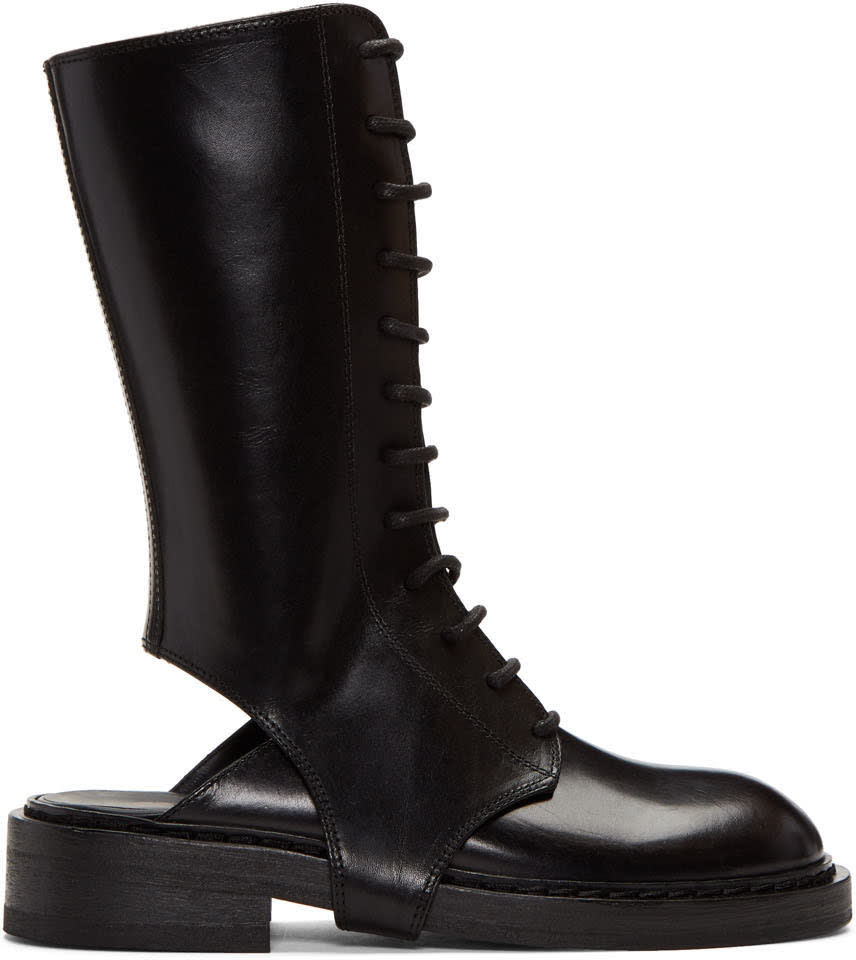 Ann Demeulemeester Black Cutout Lace-up Boots