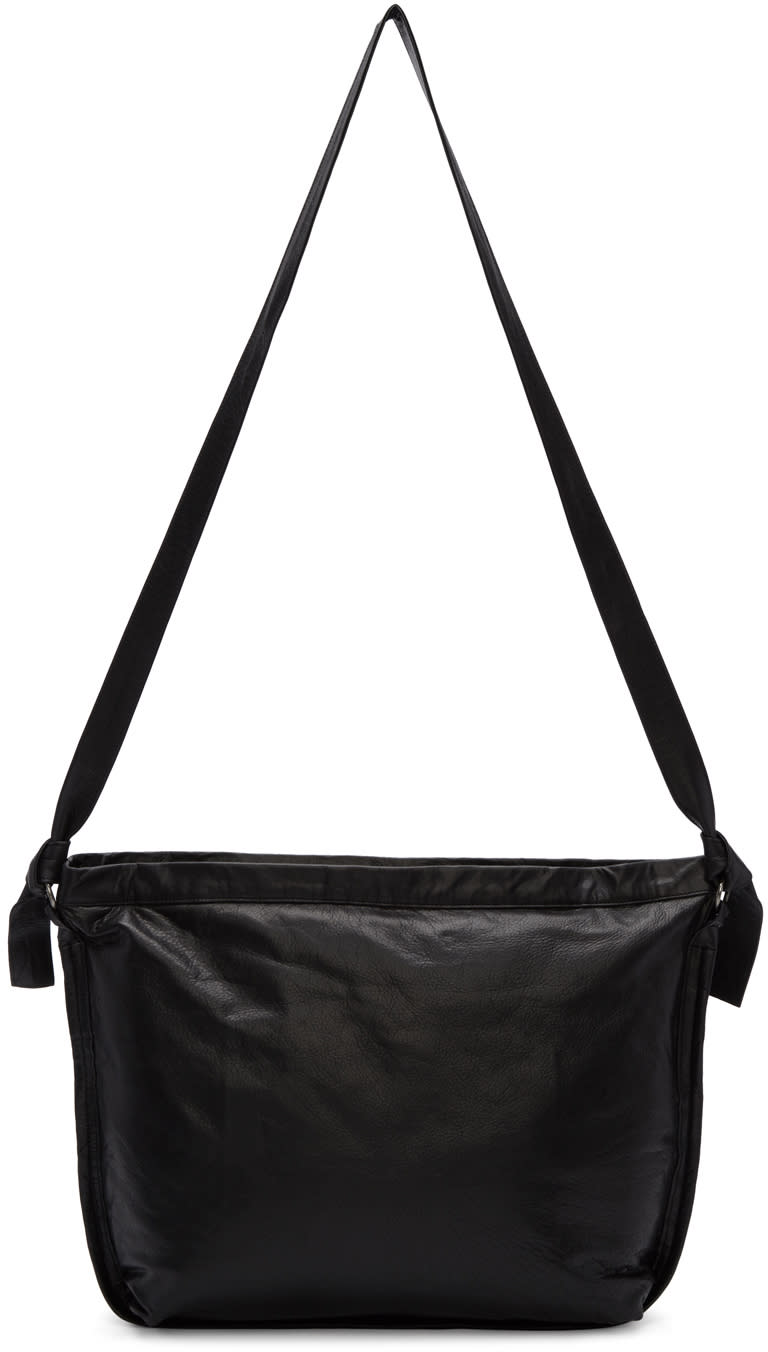 Ann Demeulemeester Black Leather Messenger Bag