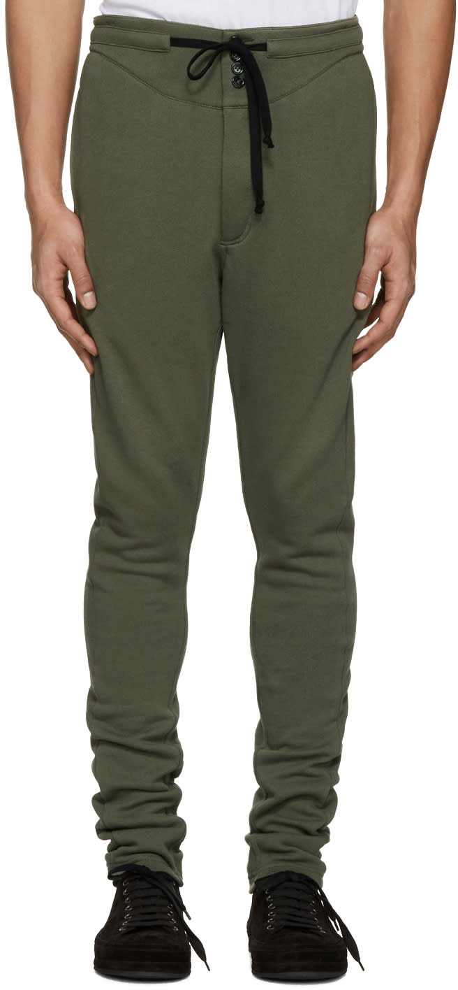 Ann Demeulemeester Green Button Lounge Pants