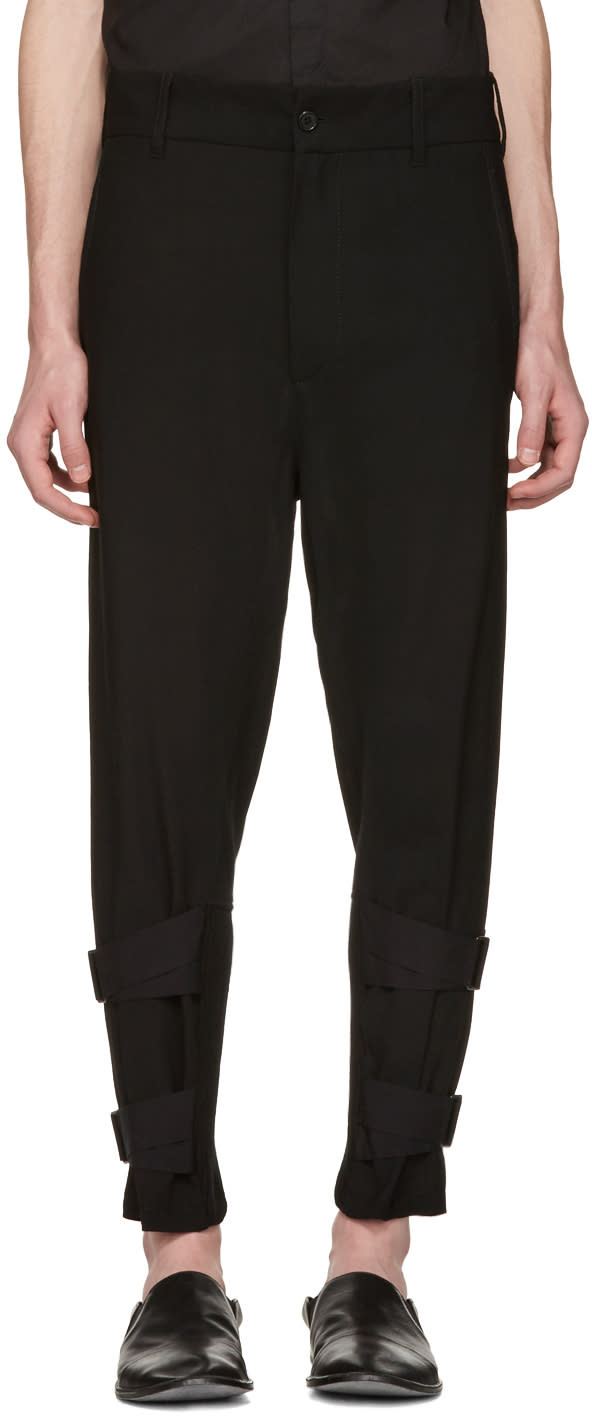 Ann Demeulemeester Black Rib and Straps Cuffs Trousers