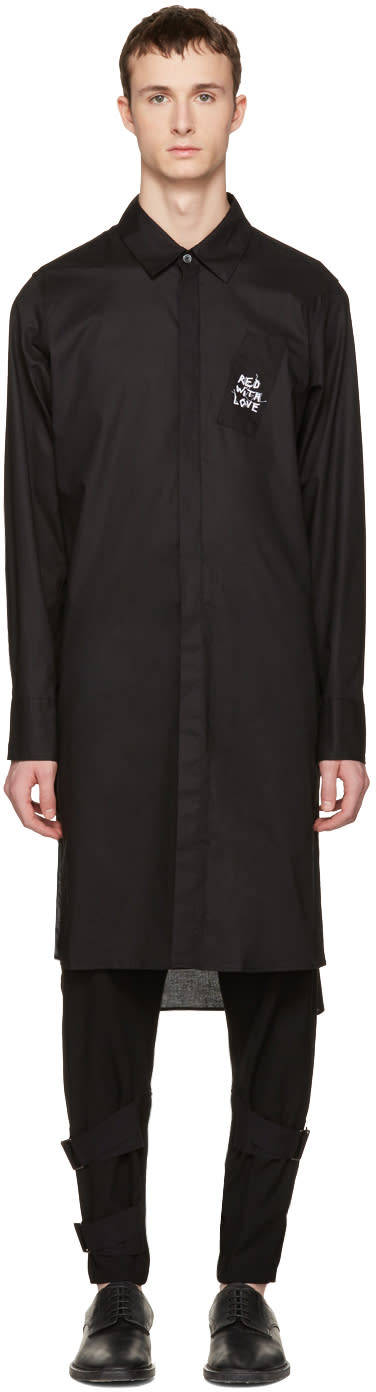 Ann Demeulemeester Black Long Embroidery Shirt