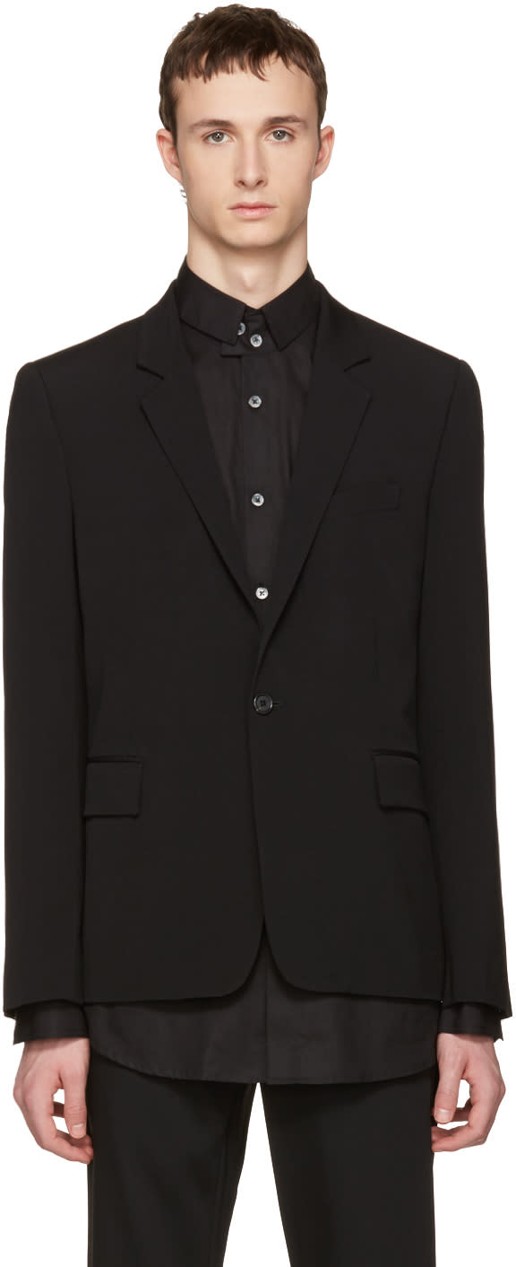 Ann Demeulemeester Black Wool Single-button Blazer