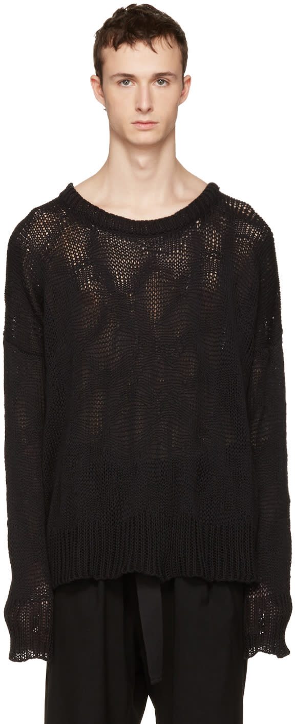 Ann Demeulemeester Black Heavy Knit Sweater