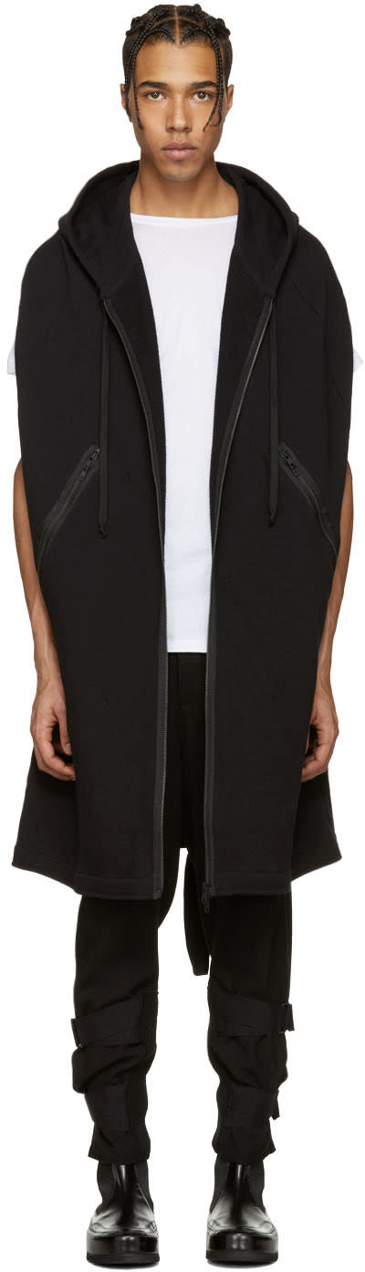 Ann Demeulemeester Black Hooded Zip-up Cape
