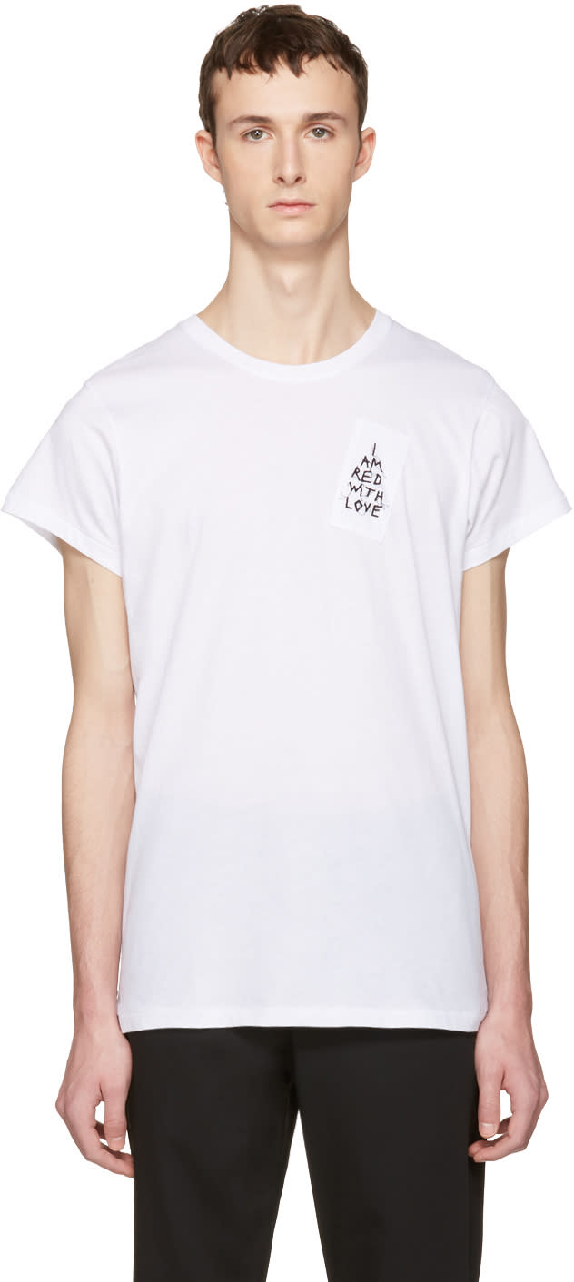 Ann Demeulemeester White i Am Red With Love T-shirt