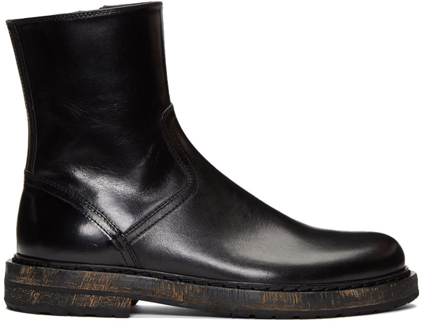 Ann Demeulemeester Black Horseskin Zip-up Boots