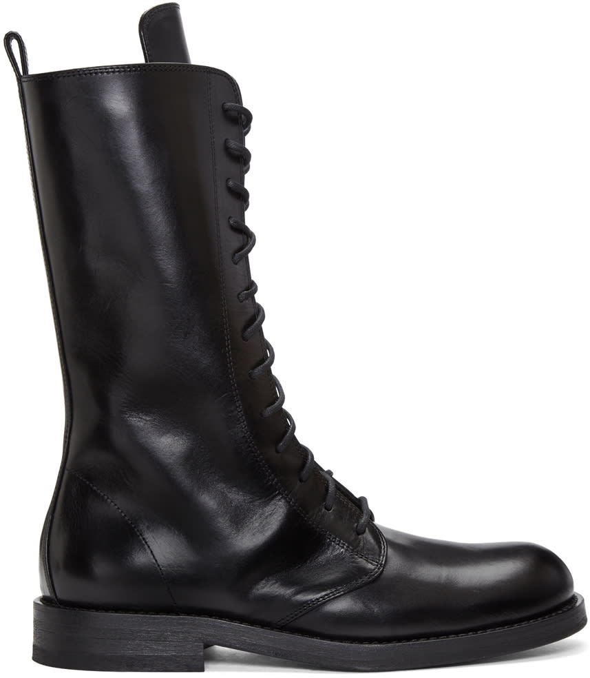 Ann Demeulemeester Black Long Lace-up Boots