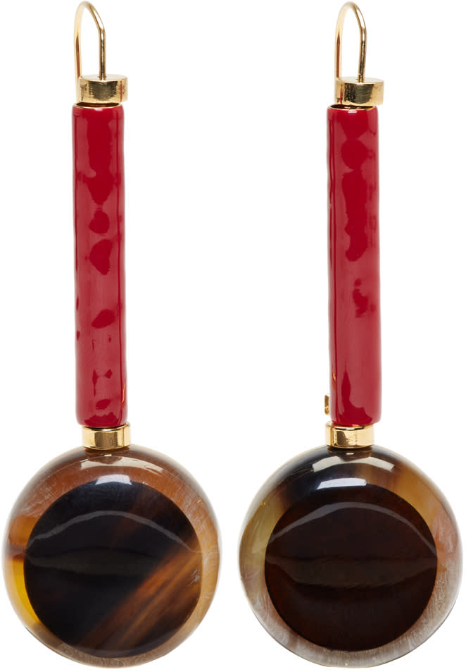 Marni Tortoiseshell Round Drop Earrings