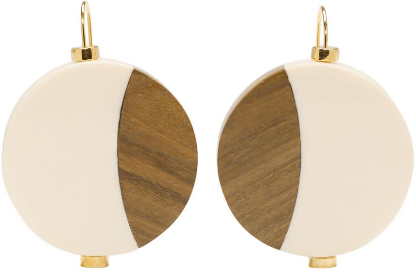 Marni Ivory Wood Drop Earrings