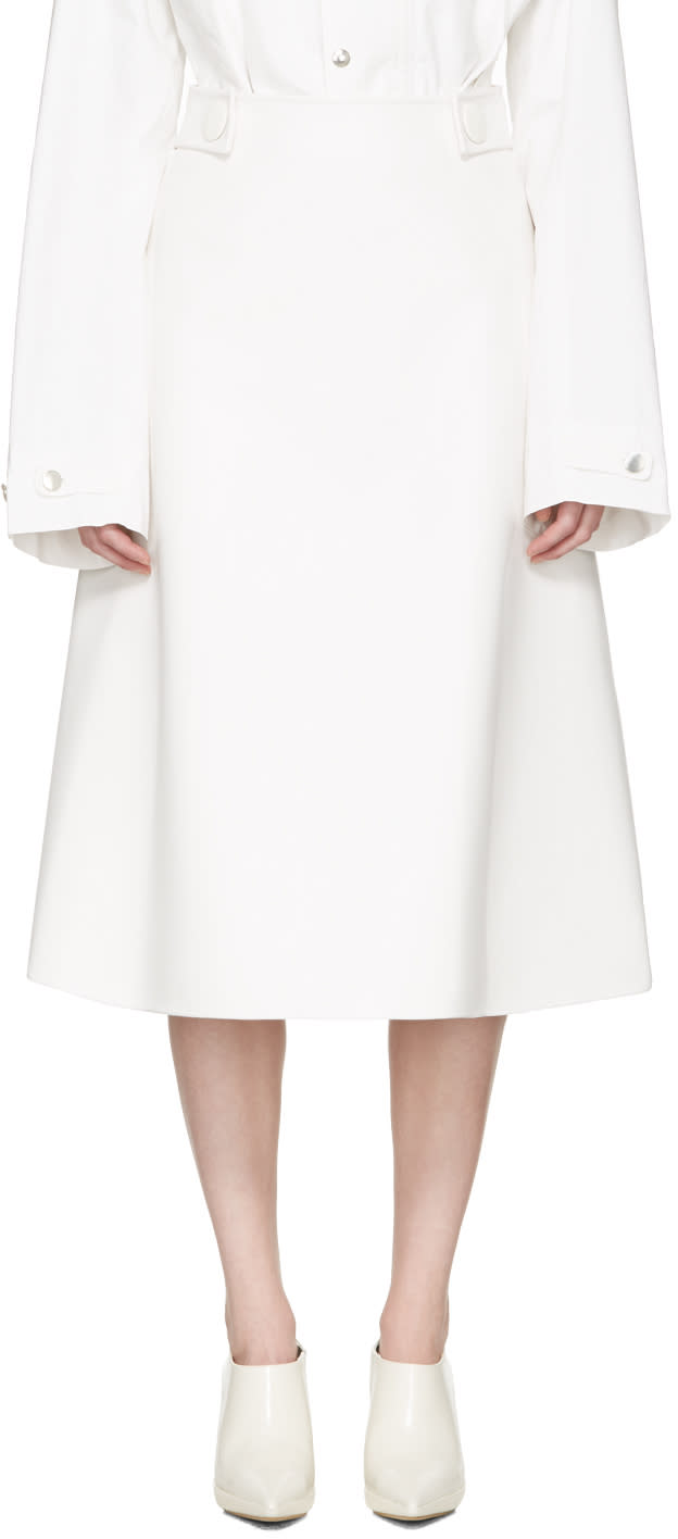 Marni White Faux-leather Skirt