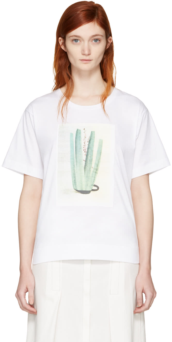 Marni White and Green Ruth Van Beek Edition Graphic T-shirt