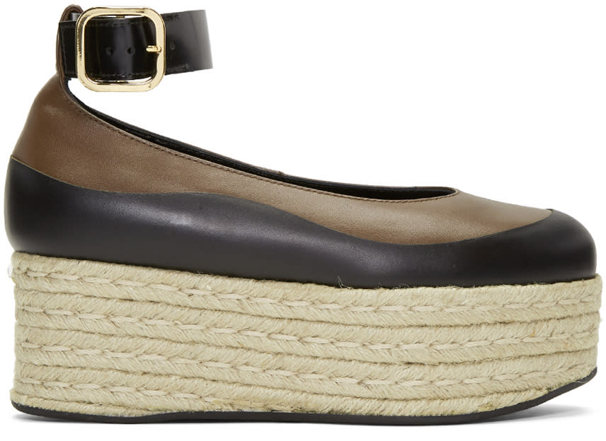 Image of Marni Black and Brown Mary Jane Platform Espadrilles