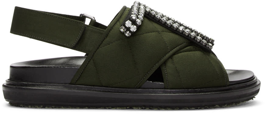 Marni Green Embellished Quilted Fussbet Sandals