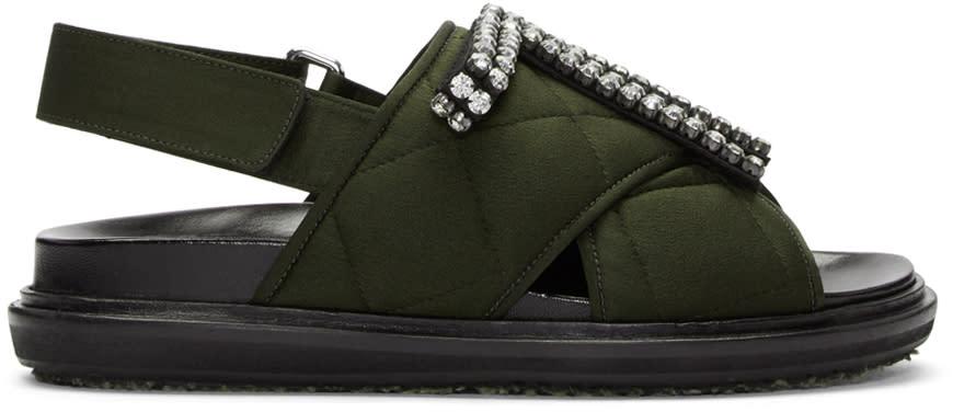 Marni Green Embellished Quilted Fussbet Sandals