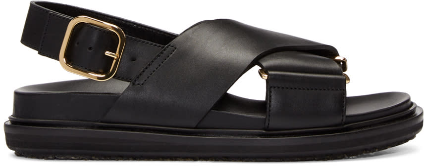 Marni Black Fussbet Crossover Sandals