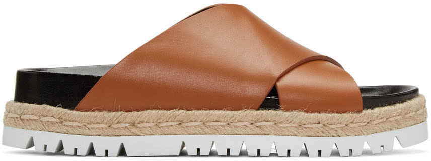 Marni Brown Criss-cross Slide Sandals
