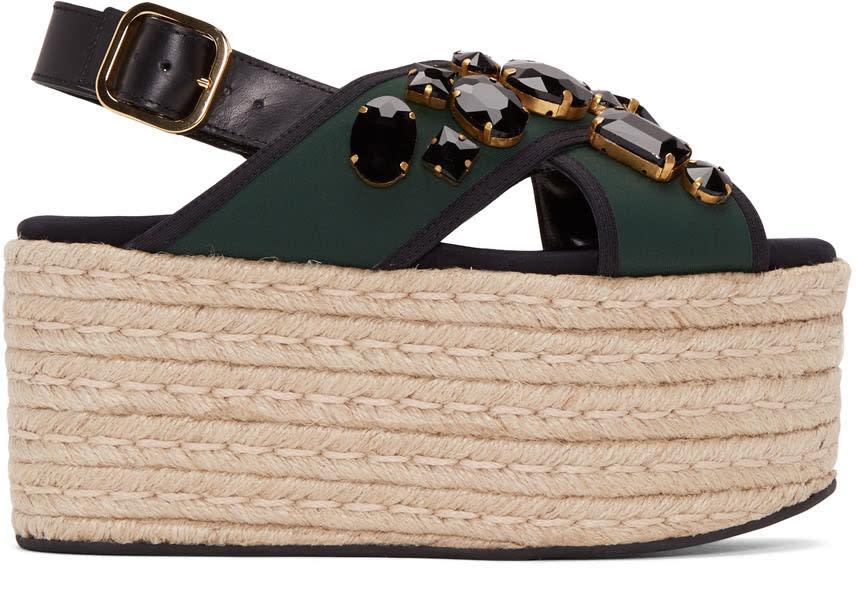 Marni Green Criss-cross Platform Sandals