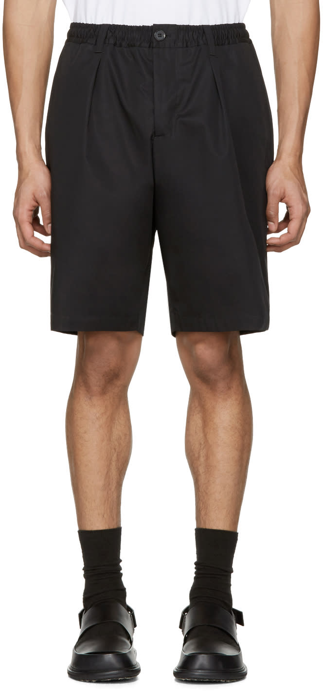 Image of Marni Black Cotton Twill Shorts