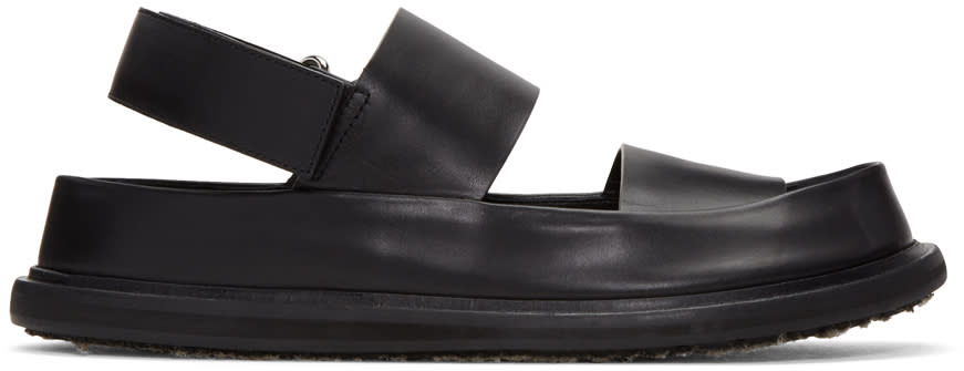 Marni Black Leather Straps Sandals