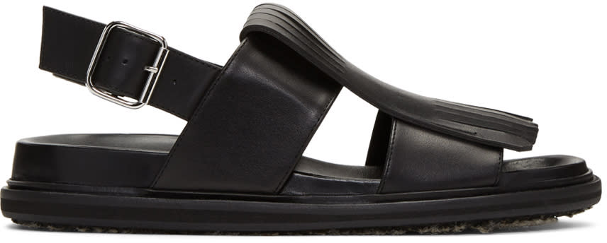 Marni Black Leather Fringe Sandals