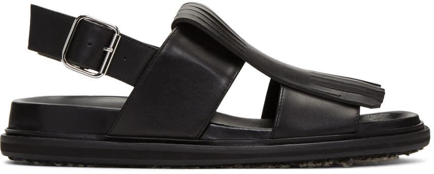 Marni Black Leather Fringe Sandals