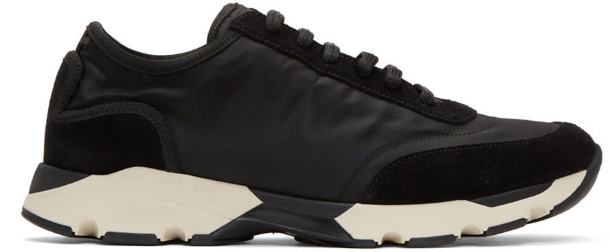 Marni Black Nylon and Suede Sneakers
