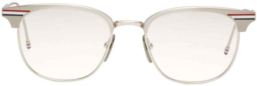 Thom Browne Silver Round Tb-104 Glasses