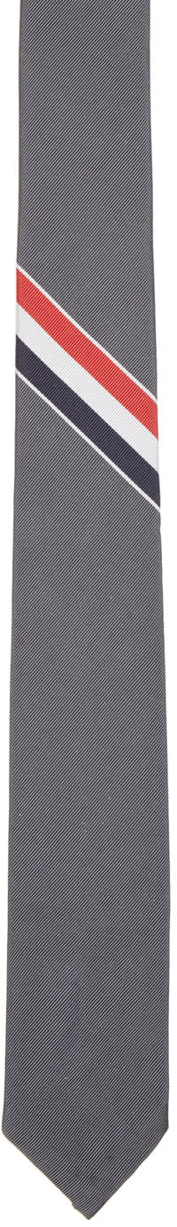 Thom Browne Grey Classic Striped Tie