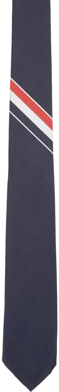 Thom Browne Navy Classic Striped Tie