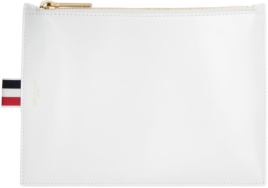 Thom Browne White Large Coin Pouch