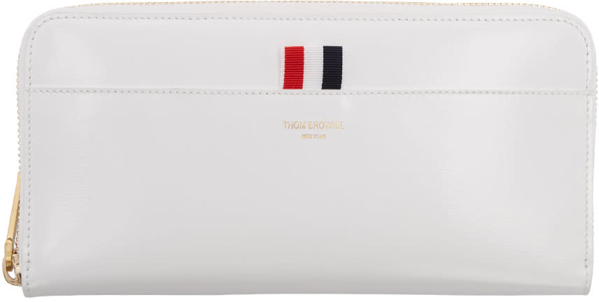 Thom Browne White Long Zip Around Wallet