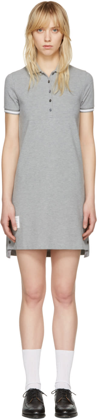 Thom Browne Grey A-line Polo Dress
