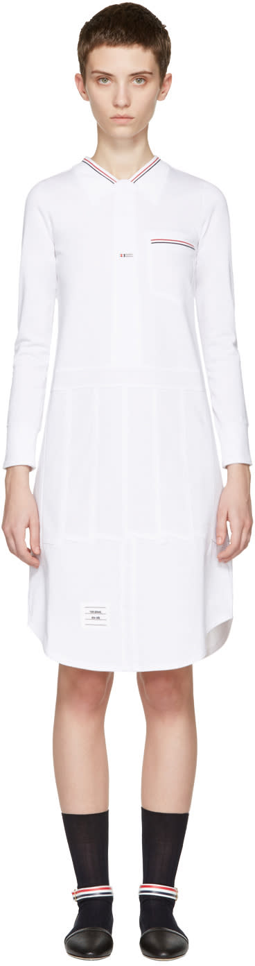 Thom Browne White Trompe Loeil Shirt Dress